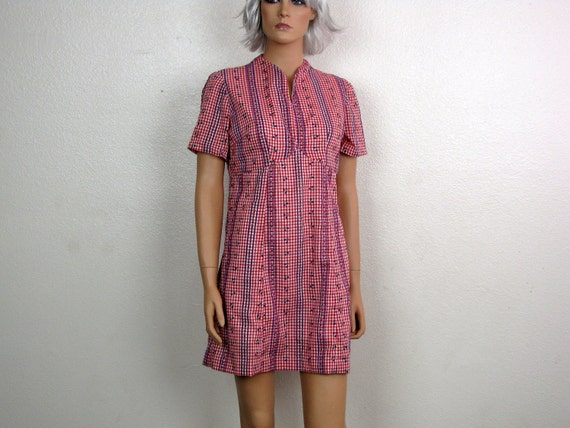 1960s Country Vintage Red Gingham Check Mini Dress