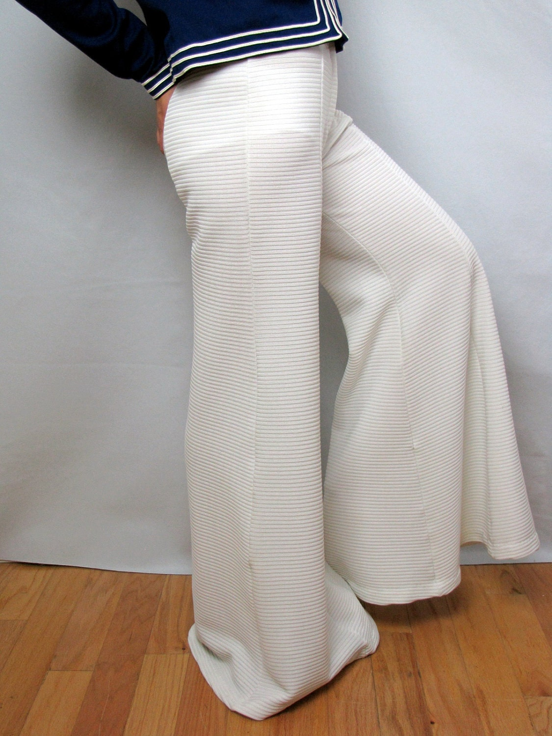 Wide Legged White Bell Bottom Vintage Pants 1970s