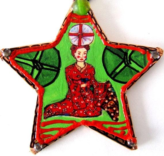 Hand Made Daikoku Goddess of Good Fortune Ornament Shinto Mahakara New Year Bride