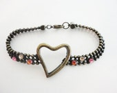 ball chain rhinestones and heart vintage retro bracelet