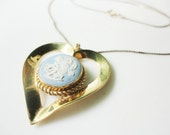 vintage Romantic Wedgwood porcelain cupid cameo heart pendant with chain necklace VD 12K GF