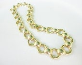 vintage jewelry  collar choker short necklace chunky gold tone