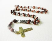 old  vintage natural brown  wood beads religious rosary necklace