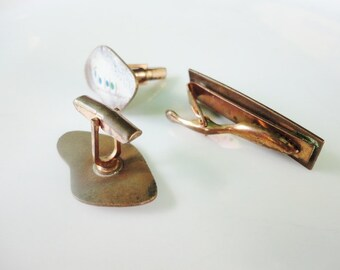ART accessory jewelry vintage handmade set cufflinks and tie clasp copper color with abstract decor