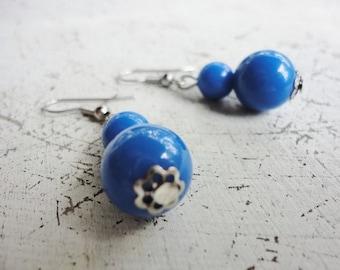 vintage jewelry retro pierced blue beads dangles earrings