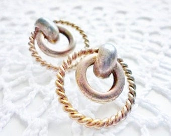 vintage old shabby earrings pierced studs of circles