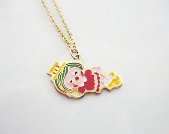 circus clown retro necklace enamel colorful small cute teens jewelry