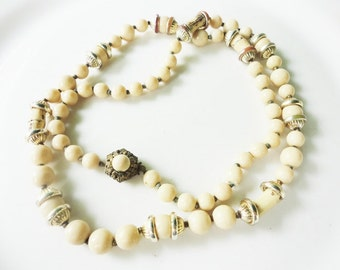 vintage antique 1950s Miriam Haskell glass beaded necklace