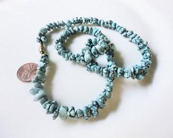 vintage handmade necklace with single strand irregular turquoise color gemstones