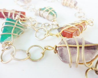 handmade beautiful gold tone wire wrapped  caged colorful gemstones vintage necklace