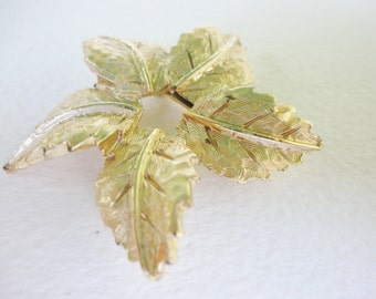 CLEARANCE Flower of Leaves brooch statement pin gold tone brushed textured costume jewelry