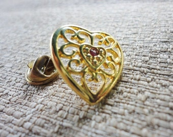 CLEARANCE romantic vintage openwork heart pin brooch with single red rhinestone