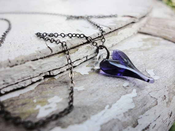 SPRING SALE 15% OFF romantic little tiny purple heart necklace