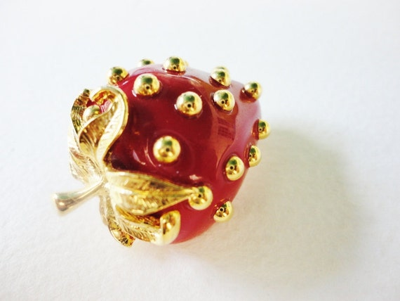 vintage Red Strawberry Pin by KJL Kenneth Jay Lane