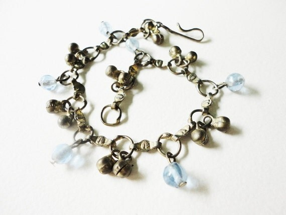 vintage gipsy anklet or long bracelet with jingling beads and light blue glass beads