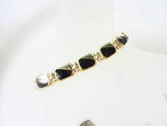 elegant vintage jewelry black enamel and gold tone bracelet