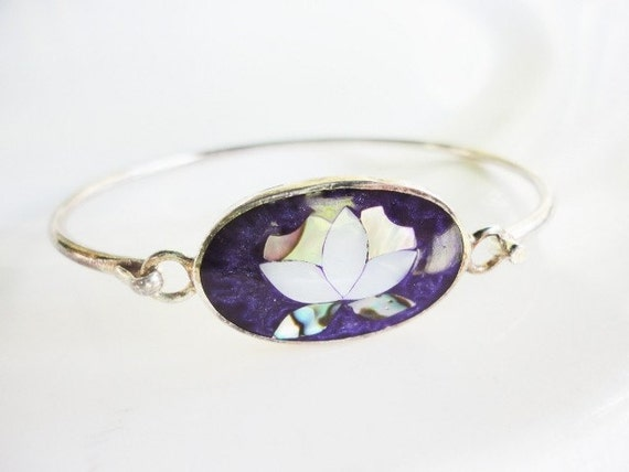 vintage ALPACA silver bracelet with purple flower and  abalone inlay
