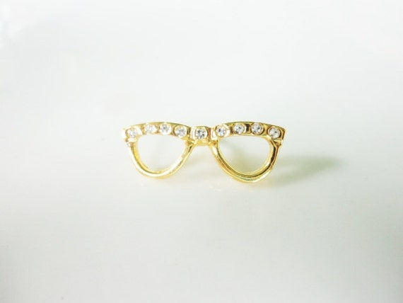 vintage little tiny naughty librarian glasses and rhinestones pin