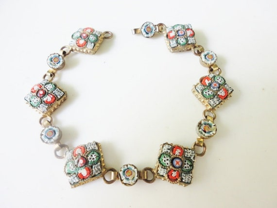 antique beautiful 1940s Made in Italy micro mosaic bracelet