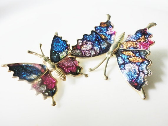 vintage jewelry set of two glitter wings colorful butterfly pin brooch