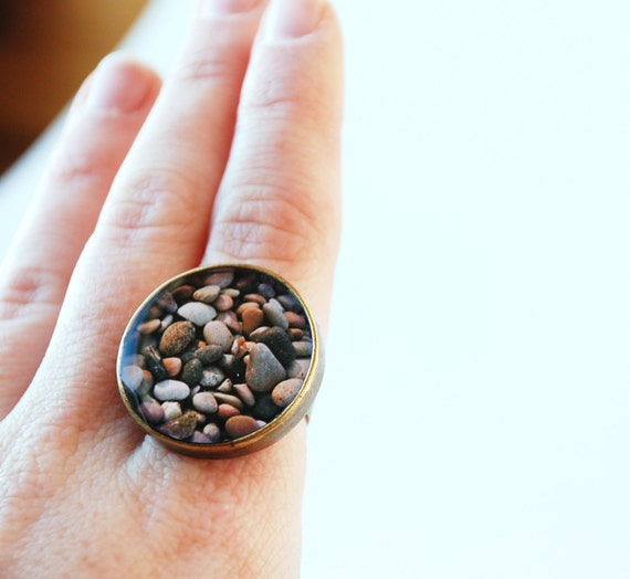 Beach Pebbles Nautical Ring with Original Photography from Little Eye