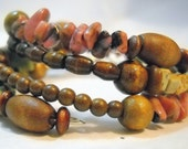Layered Bracelet Wrap in Unakite and Jasper - OOAK