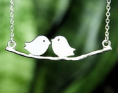 Bird Necklace, Birds On Branch Necklace, Two Birds Necklace, Loving Necklace, Sterling Silver
