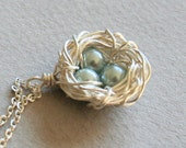 Bird Nest Necklace , Three Eggs, Nest Necklace. Sterling Silver, Bird Nest with Light Blue / Grey Eggs. Mother's Day Gift. Mom Kids Necklace