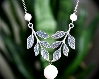 Silver Branch and Coin Pearl Necklace, Sterling Silver chain available