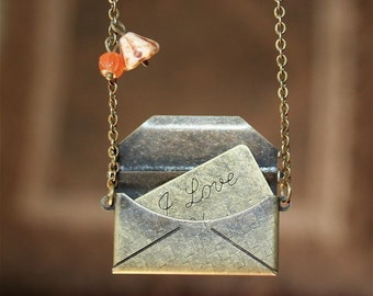 Antique Envelope with Love Message Locket Necklace. Love necklace