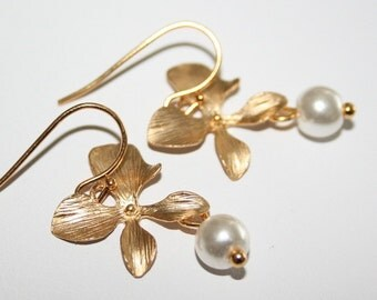 Gold Orchid Flower Dangle Earrings with Pearls - silver available