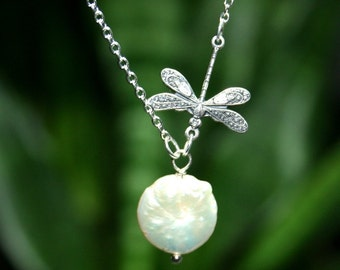 Dragonfly Necklace  with freshwater coin pearl, Sterling Silver chain available