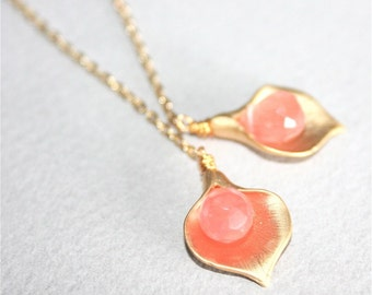 Gold Calla lily Flowers Pink Stone Lariat Necklace
