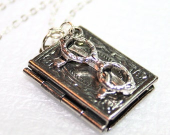 Silver Glasses and Book Locket Necklace, Sterling Silver