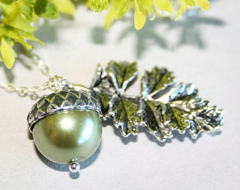Acorn with Leaf Necklace, Sterling Silver chain available