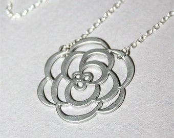 Silver Chrysanthemum Flower  Necklace, Flower necklace- gold available, Sterling Silver chain available
