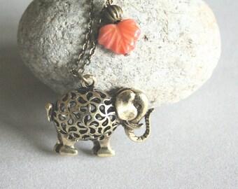Vantage Style Elephant  and Maple Leaf  Pendant Necklace
