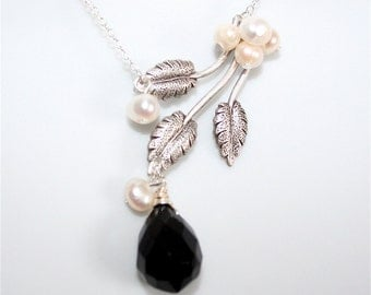 Black Teardrop Necklace with  Silver Branch - Freshwater Pearls, Silver  Leaves, Teardrop Jet Briolette, Sterling Silver chain available