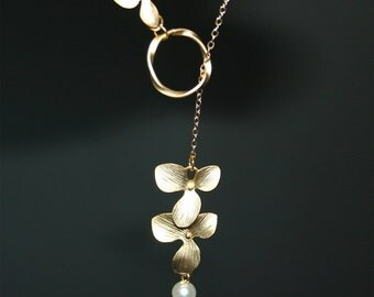Gold  Orchid Necklace, Lariat Flower Necklace with gold twisted circle