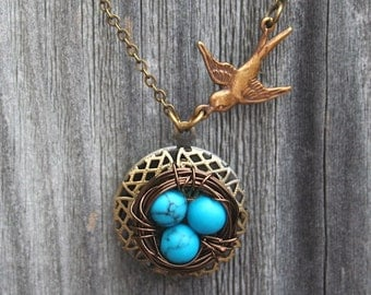 Sparrow and Bird Nest  Locket Necklace