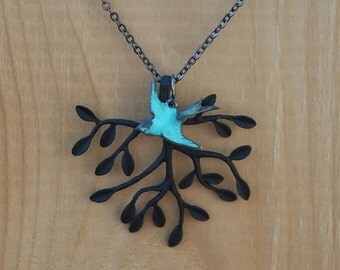 Tree and bird Necklace - Black Tree with Blue Patina Bird Necklace