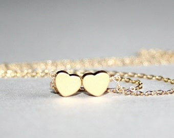 Gold Hearts Necklace, Love Necklace