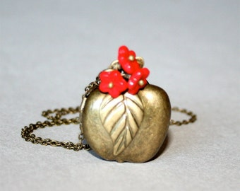 Apple and Flower Locket Necklace