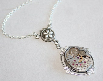 Steampunk Necklace - Vintage Watch Movement Part and Leaves setting in Antique Silver, Sterling Silver