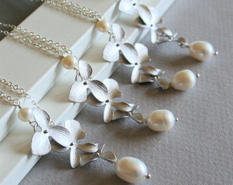 Orchid Necklace, Silver Orchid and Freshwater Pearl, Set of Four, Wedding Jewelry,Gift, Sterling Silver chain available