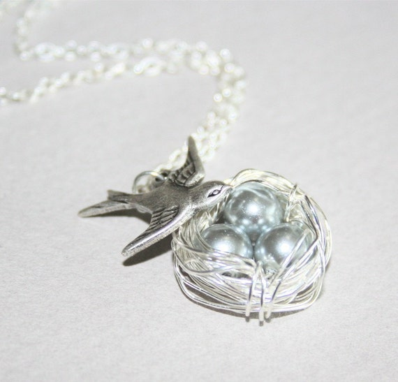 Bird Nest Necklace, Nest with Three Eggs Necklace, Sterling Silver, Mother and Daughter Necklace, Gift Ideas, Love Necklace