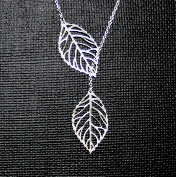 Leaf Necklace, Lariat necklace, Lariat leaf necklace, Silver leaf necklace, Two Leaves, Sterling silver, Great gift, Everyda Jewelry