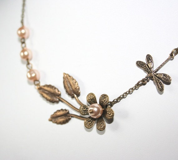 Antique Leaf Branch and Dragonfly Necklace - with flower and pearls