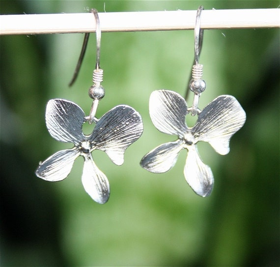 Orchid Earrings, Silver Orchid Earrings, Sterling Silver earring hooks available