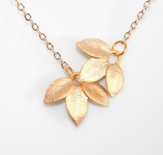 Gold Leaves Necklace, Tiny Triple Gold Leaves